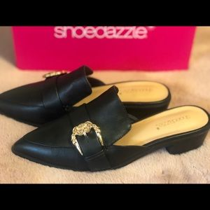 Cute black slide on shoes with a mini heel